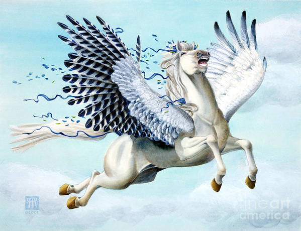 Artwork Art Print featuring the painting Cory Pegasus by Melissa A Benson