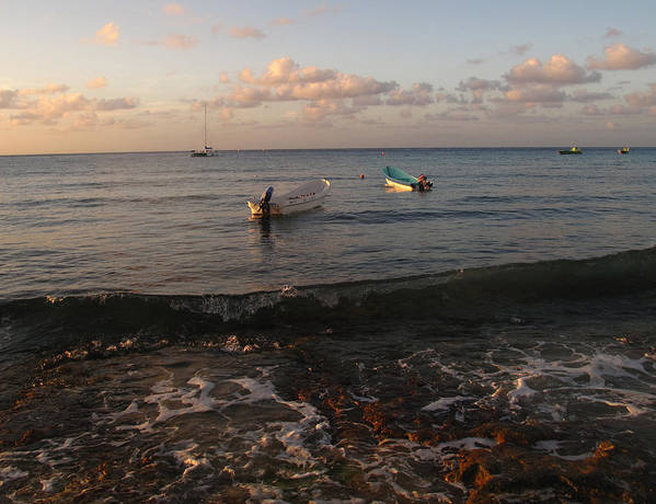Cozumel Art Print featuring the photograph Cozumel Waterfront With Two Boats by Carol McCutcheon