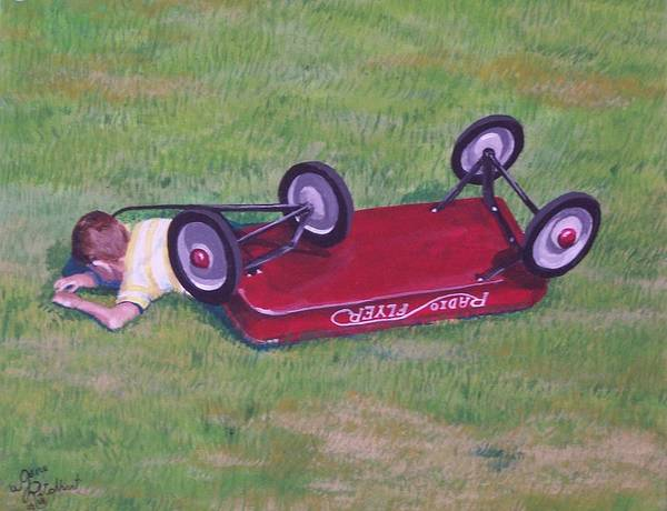 Red Wagon Art Print featuring the painting Crash Of The Radio Flyer by Gene Ritchhart