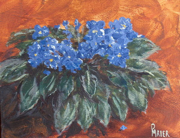 Violets Art Print featuring the painting D Violets by Pete Maier