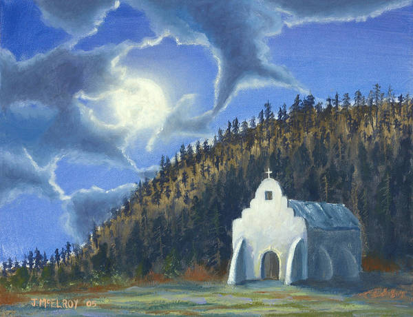 Landscape Art Print featuring the painting Dancing In The Moonlight by Jerry McElroy