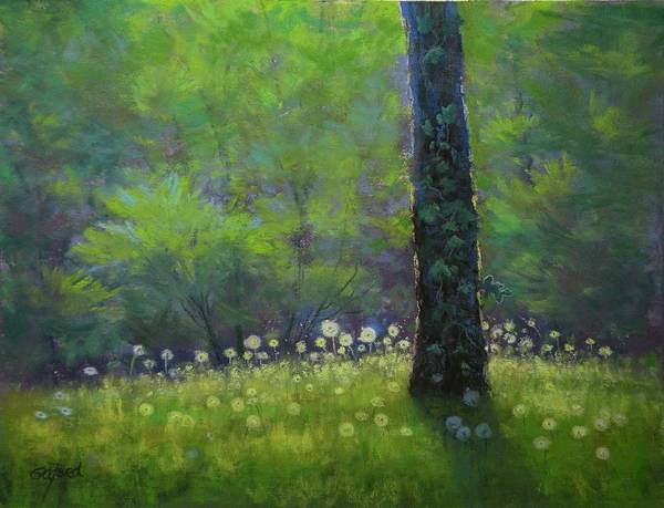 Dandelion Art Print featuring the painting Dandelion Dance by Paula Ann Ford