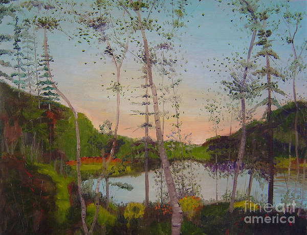 Landscape Art Print featuring the painting Dawn By The Pond by Lilibeth Andre