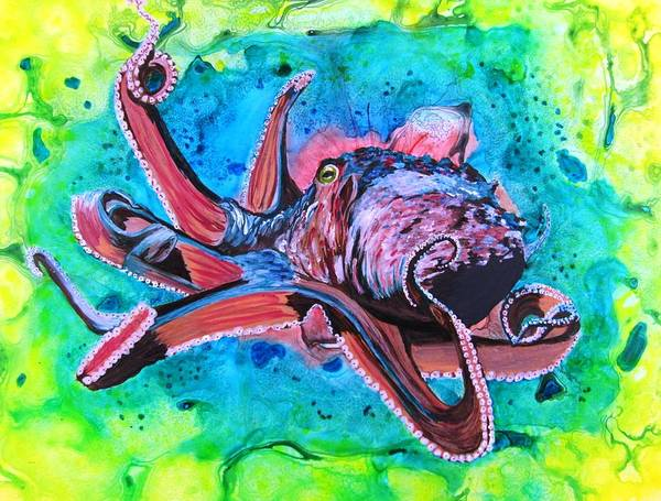 Octopus Art Print featuring the painting Deep Sea Hunt by David Raderstorf
