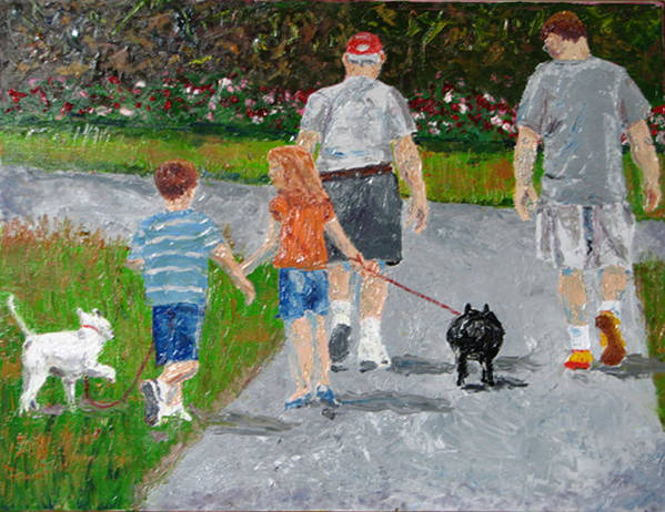 Figure Art Print featuring the painting Dog Walkers by Libby Cagle
