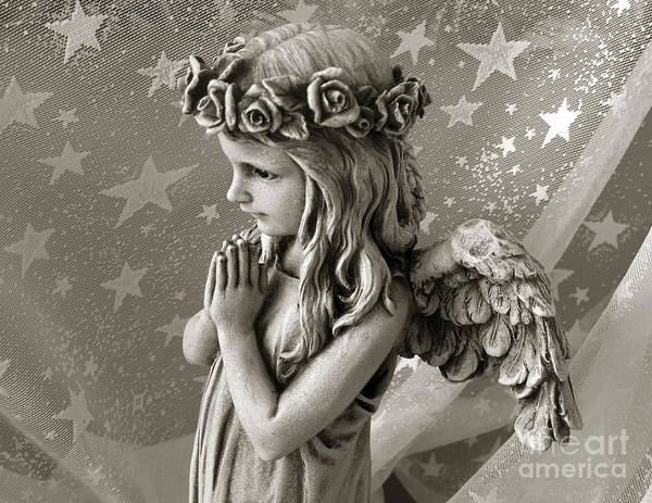 Angel Girl Art Print featuring the photograph Dreamy Little Girl Angel With Praying Hands by Kathy Fornal
