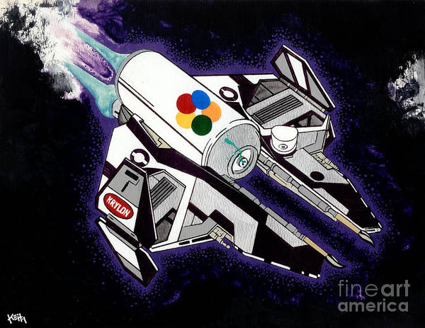 Space Art Print featuring the painting Drobot Space Fighter by Turtle Caps