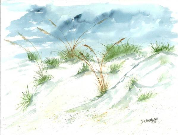 Beach Art Print featuring the painting Dunes 3 Seascape Beach Painting Print by Derek Mccrea