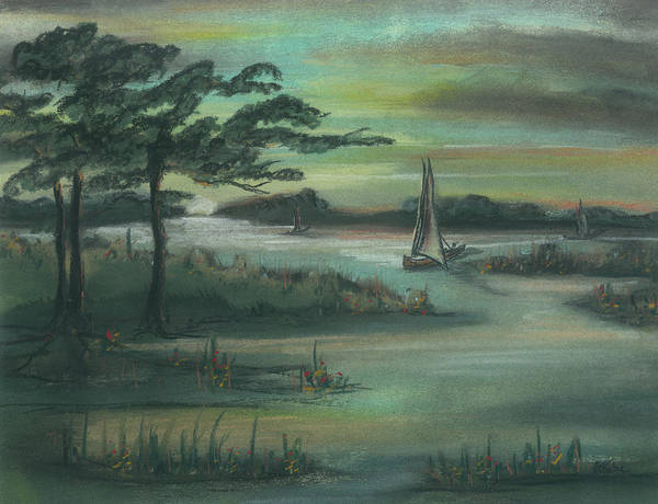 Sailboat Print featuring the pastel Early Morning Sunrise by Shelby Kube