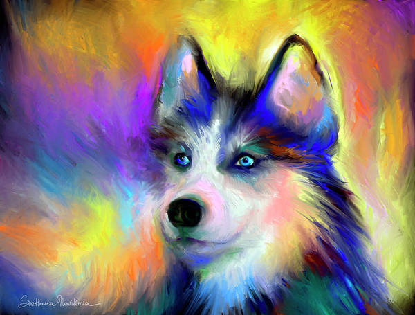 Siberian Husky Portrait Print Print featuring the painting Electric Siberian Husky Dog Painting by Svetlana Novikova