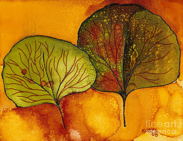 Leaf Art Print featuring the painting Fall Leaves by Susan Kubes
