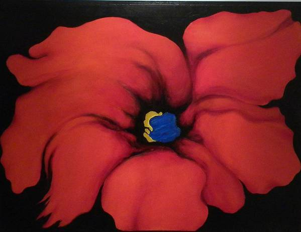 Red Bloom Artwork Art Print featuring the painting Fire Flower by Jordana Sands
