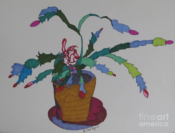 Abstract Christmas Cactus Art Print featuring the mixed media First Bloom Christmas Cactus by James SheppardIII