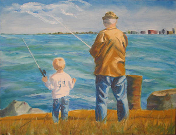 Fishermen Art Print featuring the painting First Lesson To Life's Passion by Libby Cagle