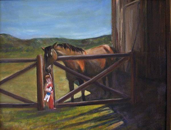 Horse Art Print featuring the painting First Love by Darla Joy Johnson