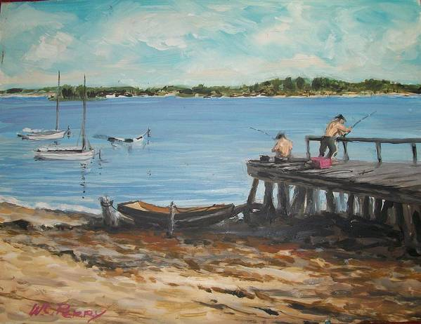 Coastal Scene Art Print featuring the painting Fishing Off The Docks At Point Judith R.i. by Perrys Fine Art