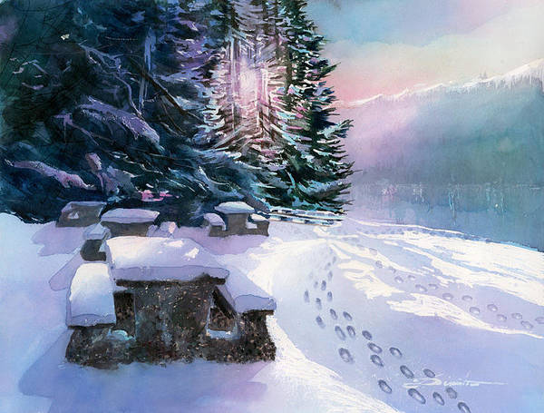 Landscape Art Print featuring the painting Foot Prints On Snow-port Moody by Dumitru Barliga