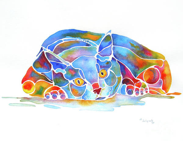 Cat Art Print featuring the painting For Cat Lovers And Crazy Cat Ladies by Jo Lynch