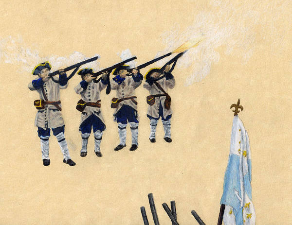 Fort Toulouse Art Print featuring the drawing Fort Toulouse Soldiers Firing by Beth Parrish