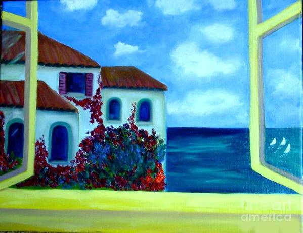 Seascape Art Print featuring the painting Fresh Sea Air by Laurie Morgan