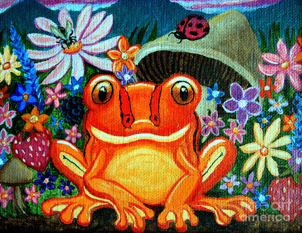 Frogs Art Print featuring the painting Frog And Flowers by Nick Gustafson