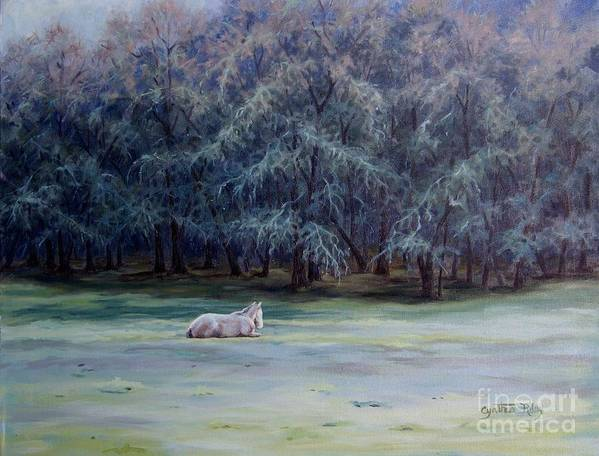 Horse Oil Painting Art Print featuring the painting Frosty Morning by Cynthia Riley