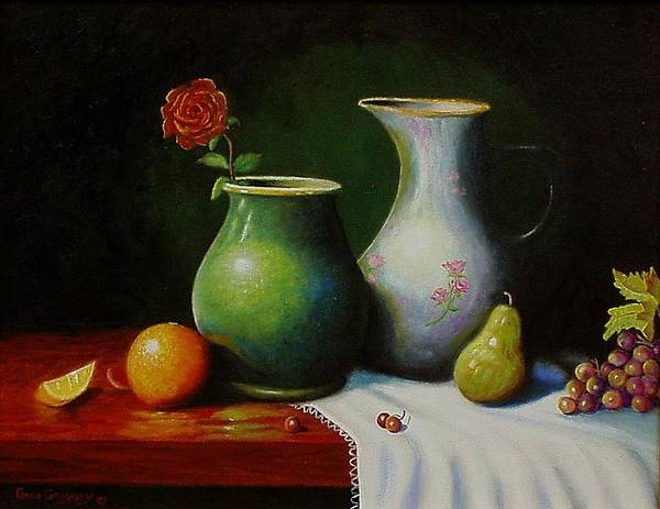 Still Life Art Print featuring the painting Fruit And Pots. by Gene Gregory
