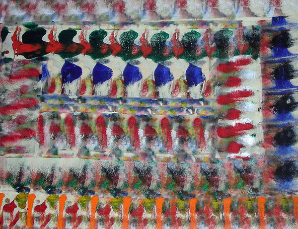 Abstract Art Print featuring the painting Fruits And Veggies by Russell Simmons
