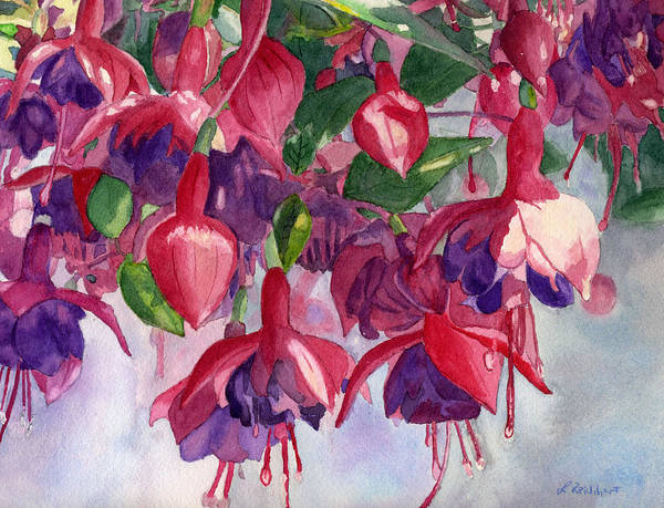 Watercolor Art Print featuring the painting Fuchsia Frenzy by Lynne Reichhart