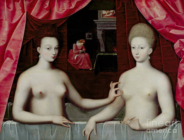Gabrielle Art Print featuring the painting Gabrielle Destrees And Her Sister The Duchess Of Villars by Fontainebleau School