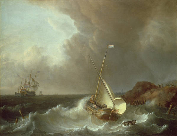 Galleon Art Print featuring the painting Galleon In Stormy Seas  by Jan Claes Rietschoof