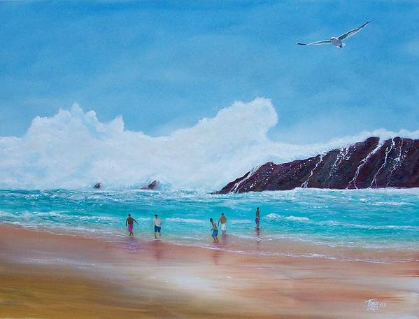 Seascape Art Print featuring the painting Get Off The Beach by Tony Rodriguez