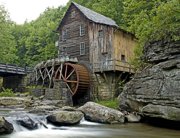 glade Creek Grist Mill Print featuring the photograph Glade Creek Grist Mill Located In Babcock State Park West Virginia by Brendan Reals