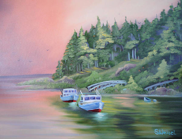 Boat Fish Pond Lake Ocean Sea Tree Bridge Landscape Water Scape Dingy Orange Purple Red Blue Cream Art Print featuring the painting Goin Fishin by Sherry Winkler