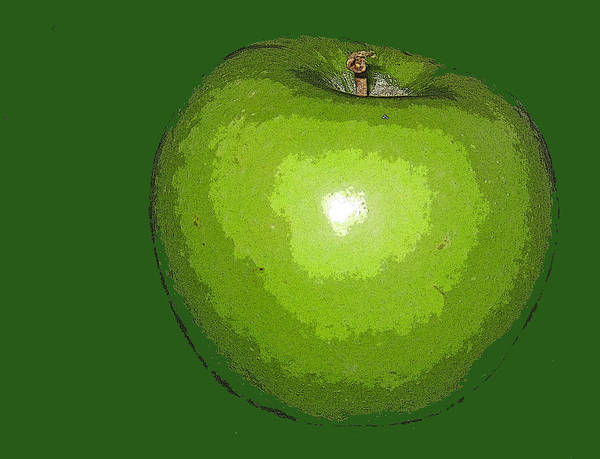 Apple Art Print featuring the digital art Granny Smith by Ian MacDonald