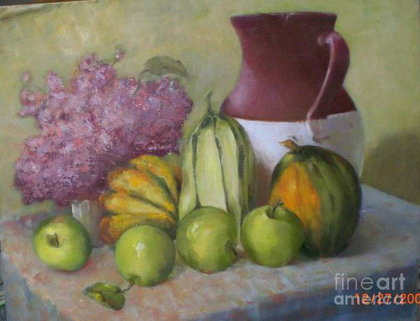 Still Life Art Print featuring the painting Green Apples And Hydrangeas  Copyrighted by Kathleen Hoekstra
