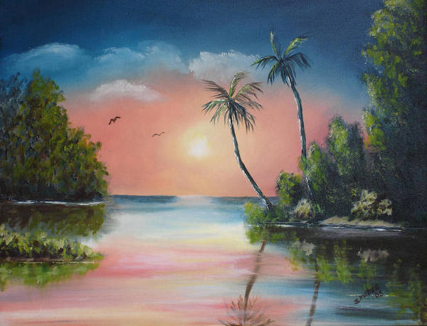 Sunset Art Print featuring the painting Gulf Coast Sunset by Susan Kubes