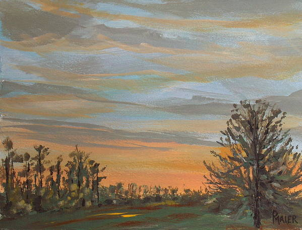 Sunset Art Print featuring the painting Gwinnetian Sunset by Pete Maier