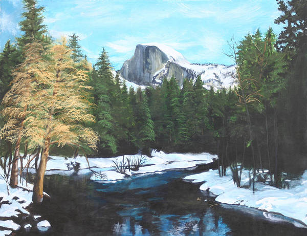 Lkandscape Art Print featuring the painting Half Dome Snow by Travis Day