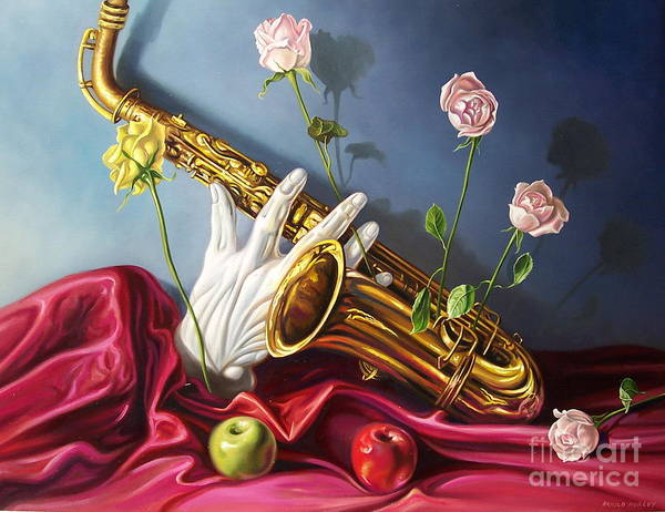 Still Life Art Print featuring the painting Hand And Sax by Arnold Hurley