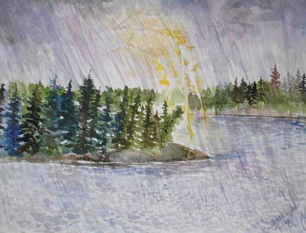 Watercolor Art Print featuring the painting Hand Of God Storm Over Lake Jordan by Mona McClave Dunson