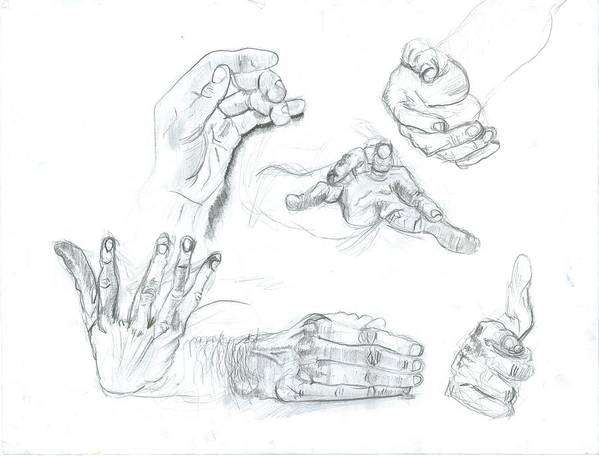 Art Print featuring the drawing Hands by Joseph Arico