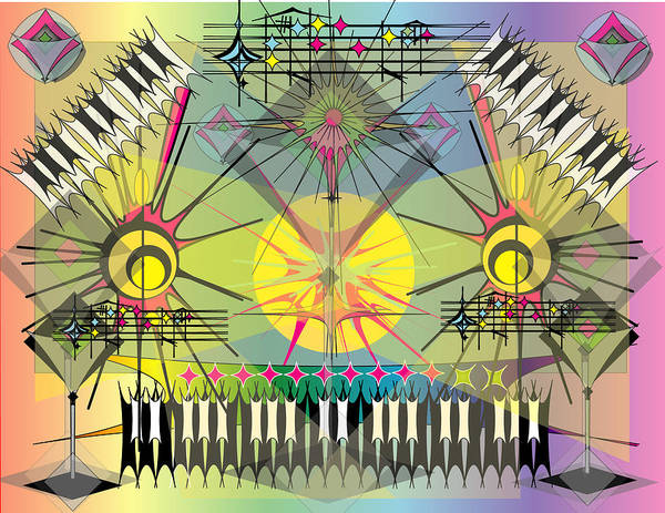 Music Art Print featuring the digital art Hapyhour Keyboards by George Pasini