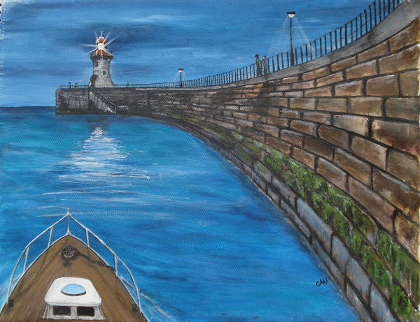 Harbour Art Print featuring the painting Harbour Light by Carol Williams