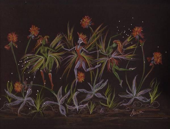 Fairies Art Print featuring the drawing Hawkweed Dance by Dawn Fairies
