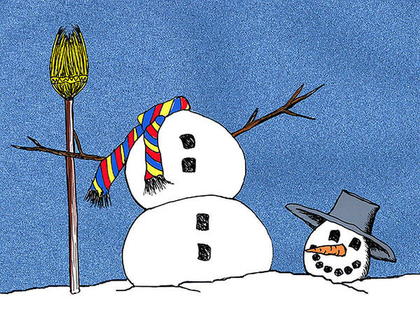Snowman Art Print featuring the digital art Headless Snowman by Nancy Mueller