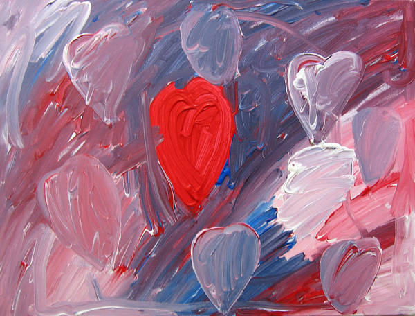 Hearts Art Print featuring the painting Hearts by Kiely Holden