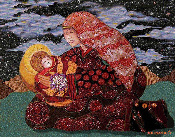 Mother Print featuring the painting Heavenly Mother And Child by Dede Shamel Davalos