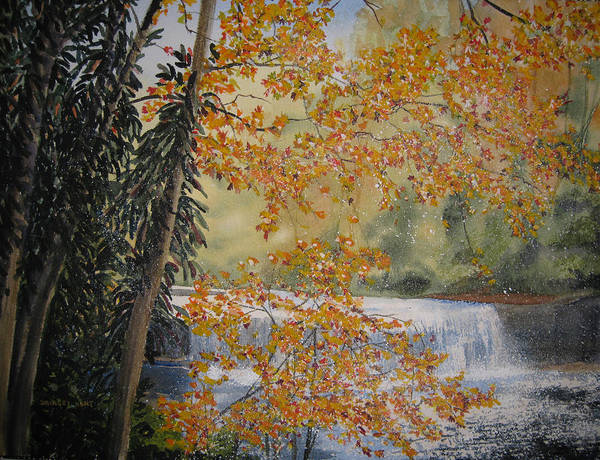 Landscape Art Print featuring the painting Hooker Falls by Shirley Braithwaite Hunt