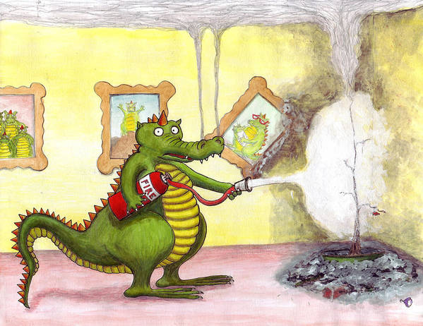 Dragon Art Print featuring the drawing Hope Your Holidays Are A Blow Out by Julia Collard